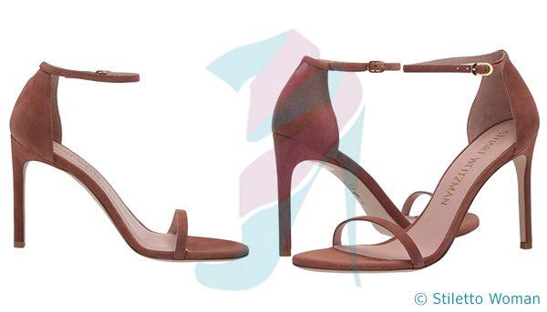 Stuart Weitzman Nudistsong - Cappuccino Seude ankle strap heel