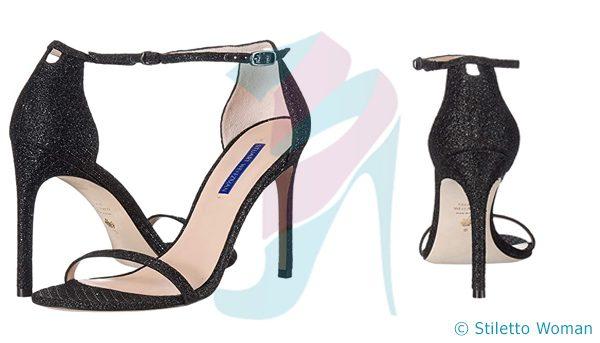 Stuart Weitzman Nudistsong - Black Stars ankle strap heel