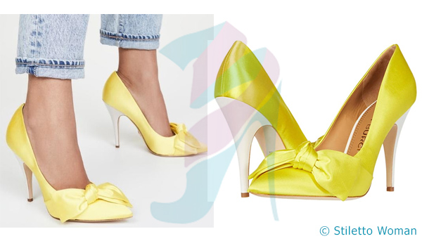 Tory Burch Satin Bow Pump - yellow color heel