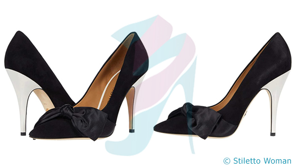 Tory Burch Satin Bow Pump - black color heel
